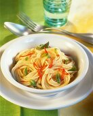 Spaghetti with chili, garlic and mint