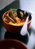 Sweet potato soup with mussels