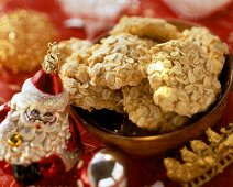 Rolled oat biscuits in a dish
