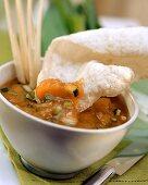 Chinese dip with prawn cracker