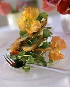 Watercress salad with white bread