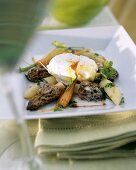 Morel and carrot ragout with poached egg