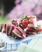 Meat and vegetables sandwiches for picnic