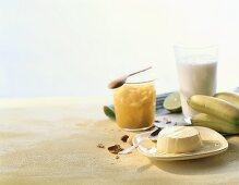 Pumpkin jam, banana drink and milk pudding (Canary Islands)