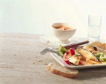 Deep-fried vegetables with yoghurt sauce (Turkey)