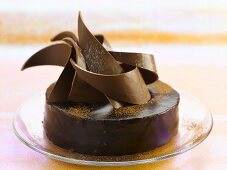 Chocolate truffle cake with artistic chocolate decoration