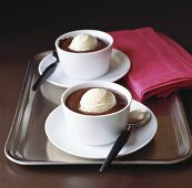Chocolate cream with vanilla ice cream in two bowls