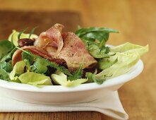 Mixed salad leaves with ox tongue