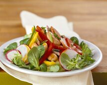 Corn salad with white beans, peppers and radishes