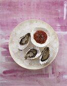 Oysters with chilli tomato jam