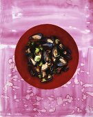 Steamed mussels with celery