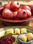 Baklava and pomegranates