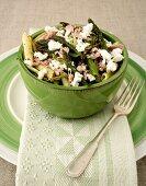Penne with tuna, asparagus, pesto, feta and mini courgettes