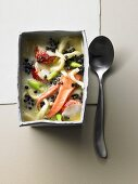 Black lentil soup with lobster and Spätzle (soft egg noodles from Germany)