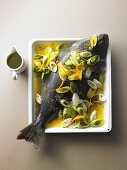 Halibut with oranges, vodka and leek with rouille