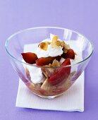 Plum and amaretti trifle with cream