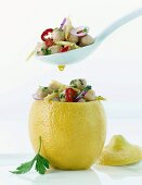 Chick-pea salad with Moroccan-style pickled lemons