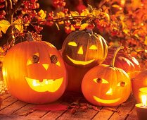 Halloween: hollowed-out pumpkins at night
