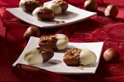 Dates stuffed with nuts dipped in white chocolate