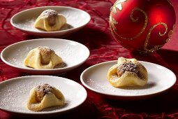 Marzipan chocolate balls in pastry
