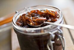 Onion confit in preserving jar