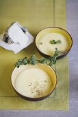 Cream of Jerusalem artichoke soup with marjoram and goat's cheese