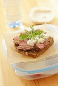 Roast beef with horseradish cream on wholemeal bread