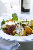 Salad with butternut squash and soft cheese