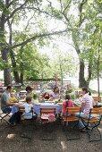 Family party in beer garden