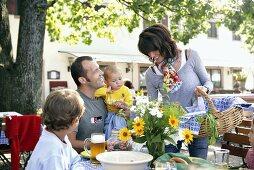 Parents with children at beer garden