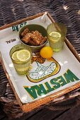Biscuits and lemonade on tray with grain sack tray cloth