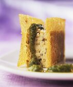 Fried bread with olive paste and herb pesto