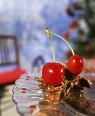 Chocolate crossie with cherries and pistachios