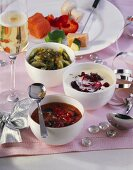 Honey & onion dip, cranberry & horseradish dip & cucumber dip