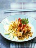 Sautéed prawns with garlic, green mango and sesame oil
