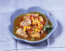 Coley soup with peppers