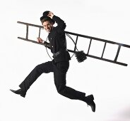 Chimney sweep with ladder