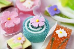 Jelly sweets with sugar flowers for Easter