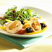 Squid salad with olives and peppers