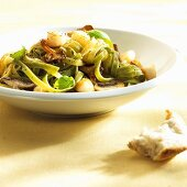 Ribbon pasta with scallops and wild mushrooms