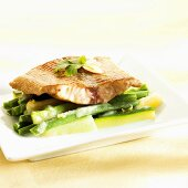 Wels catfish on courgettes and green beans