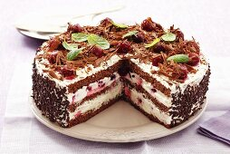 Black Forest gateau, a piece removed