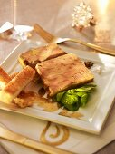 Goose liver terrine with corn salad and toast (Christmas)