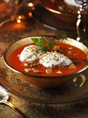 Red pepper soup with goose liver (Christmas)