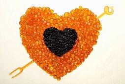 Caviar heart with arrow