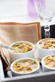 Several passion fruit soufflés