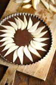 Chocolate cake with pears (unbaked)