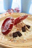 Cherry ice lollies (parasols)
