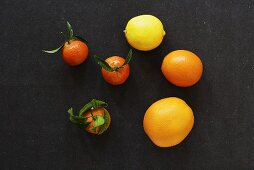 Assorted citrus fruit from above