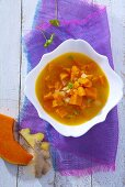 Pumpkin soup with potatoes and ginger